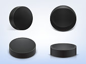 Vector set of black rubber pucks for play hockey