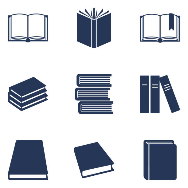 vector set of black silhouette book icons. education pictograms. - книга stock illustrations