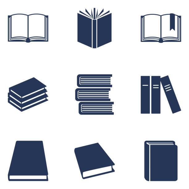 ilustrações de stock, clip art, desenhos animados e ícones de vector set of black silhouette book icons. education pictograms. - livro