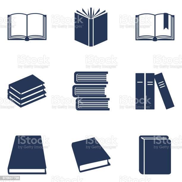 Vector Set Of Black Silhouette Book Icons Education Pictograms - Arte vetorial de stock e mais imagens de Aberto