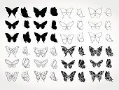 Vector set of black silhouettes butterflies.