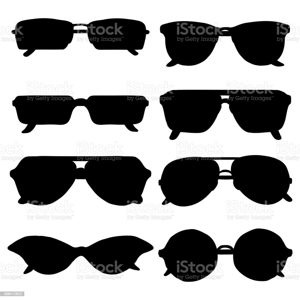 Vector Set of Black Sunglasses Silhouettes vector art illustration