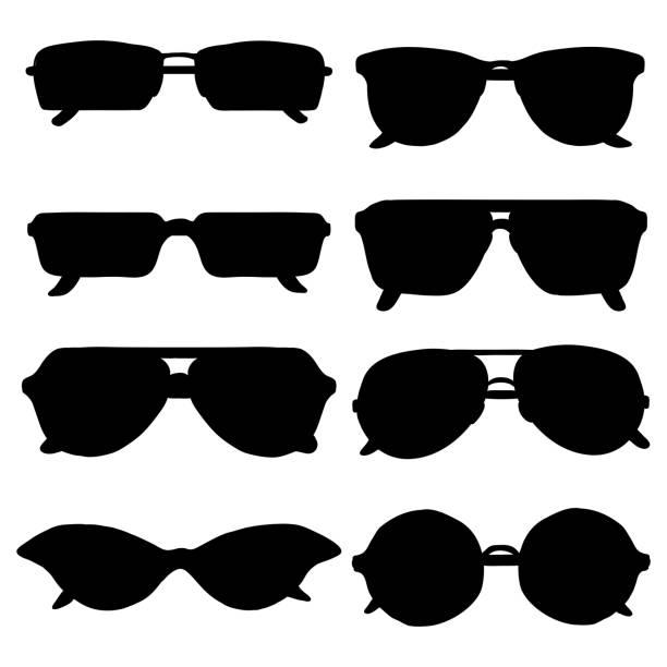siyah güneş gözlüğü siluetleri vektör kümesi - google stock illustrations