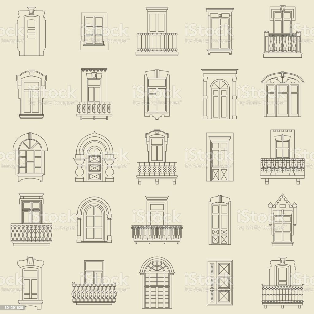 Vector set of black  thin line icons of vintage decorative doors, windows, balconies on white background. vector art illustration