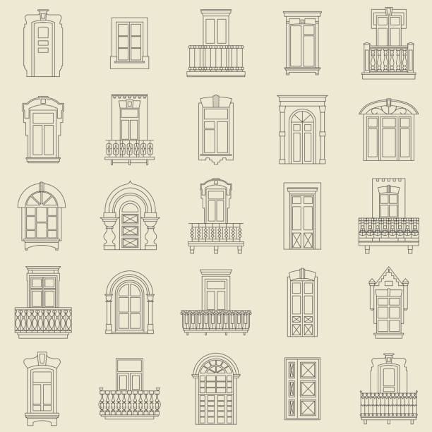 Conjunto de vectores de iconos de línea fina negra de vintage puertas decorativas, ventanas, balcones sobre fondo blanco. - ilustración de arte vectorial