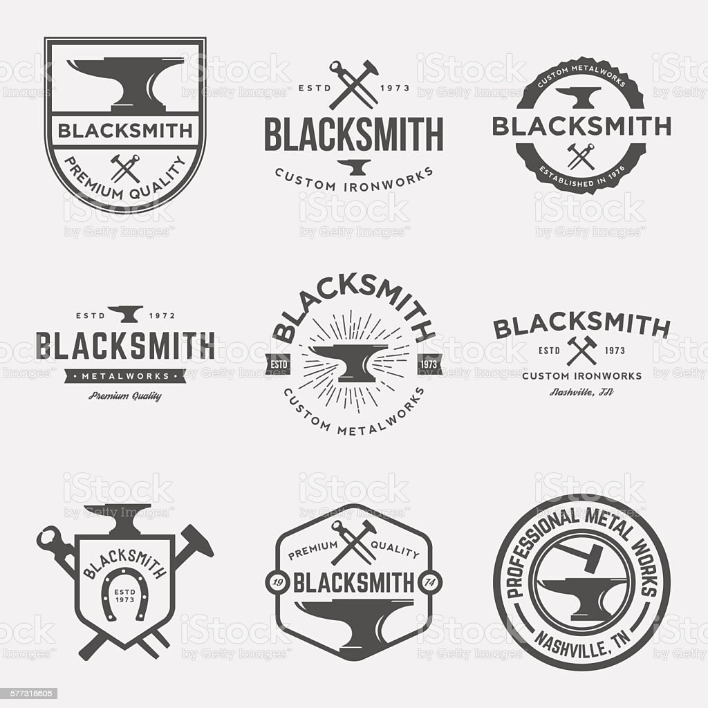 vector set of blacksmith vintage logos, emblems and designs vector art illustration