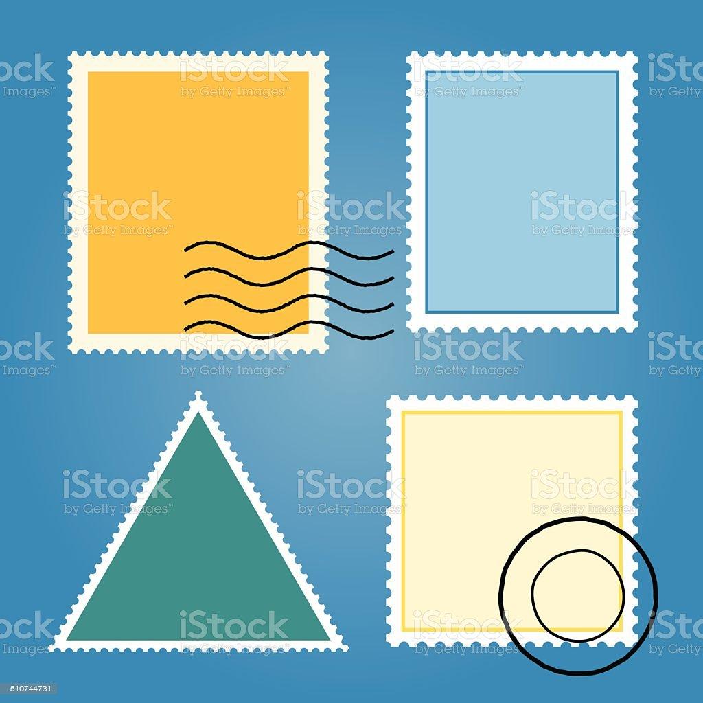 Vektor-Reihe von leeren Briefmarken bunte – Vektorgrafik