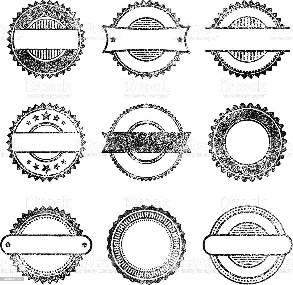 Vector set of blank grunge stamps royalty-free stock vector art