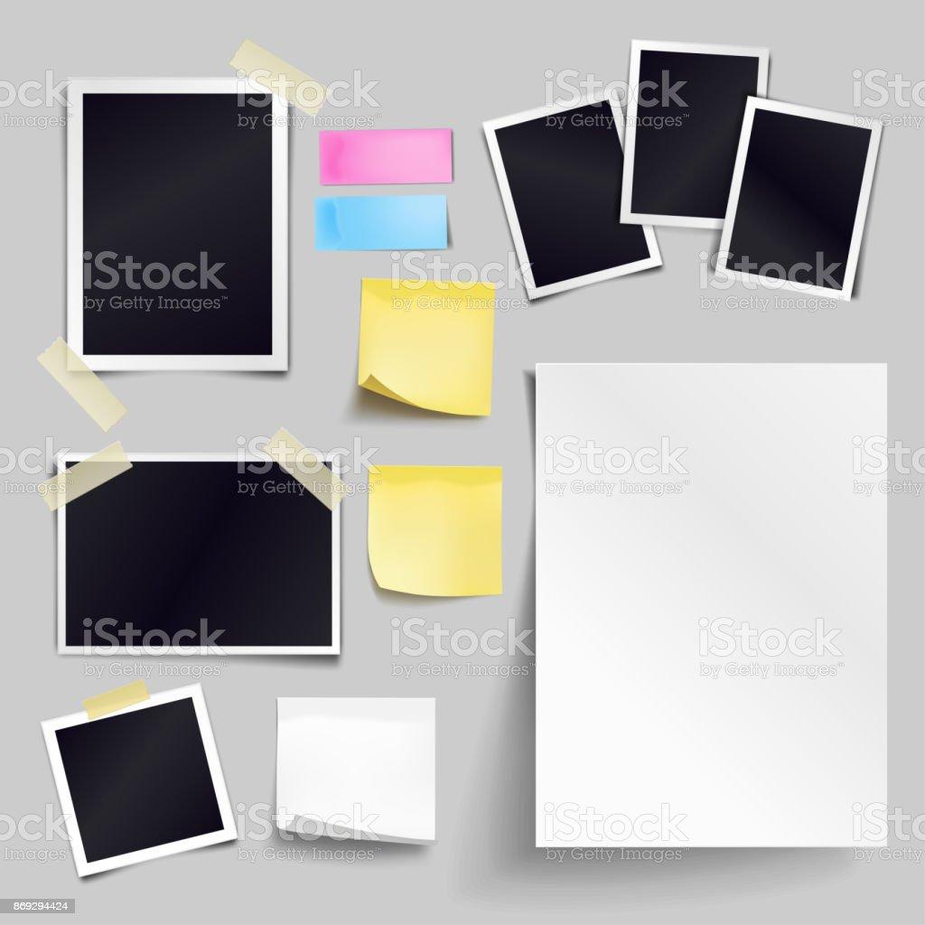 Fotolijst A4 Formaat.Vector Set Blanco Papierobjecten Lege Witte Vel Van A4formaat