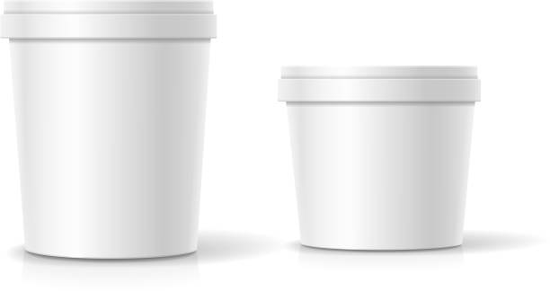 Vector set of blank plastic bucket container packaging isolated vector art illustration