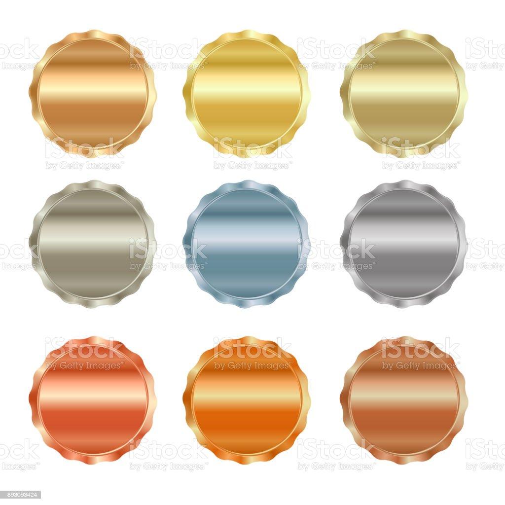 Vector conjunto de selos em branco de ouro, ouro vermelho, ouro branco, platina, prata, bronze, cobre, latão, alumínio, que pode ser usado como ícones, botões, moedas, medalhas - ilustração de arte em vetor