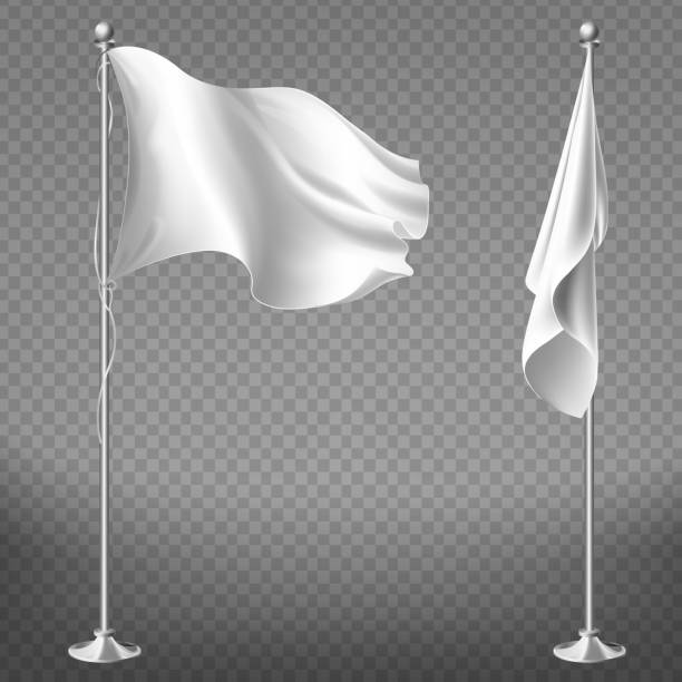 Vector set of blank white flags on steel poles Vector realistic set of two white flags on steel poles isolated on transparent background. Blank waving banner on flagpole, fabric with empty space for advertising messages. Mockup for your design flagpole stock illustrations