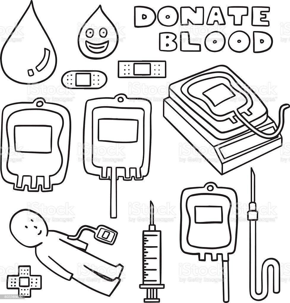 vector set of blood donation vector art illustration