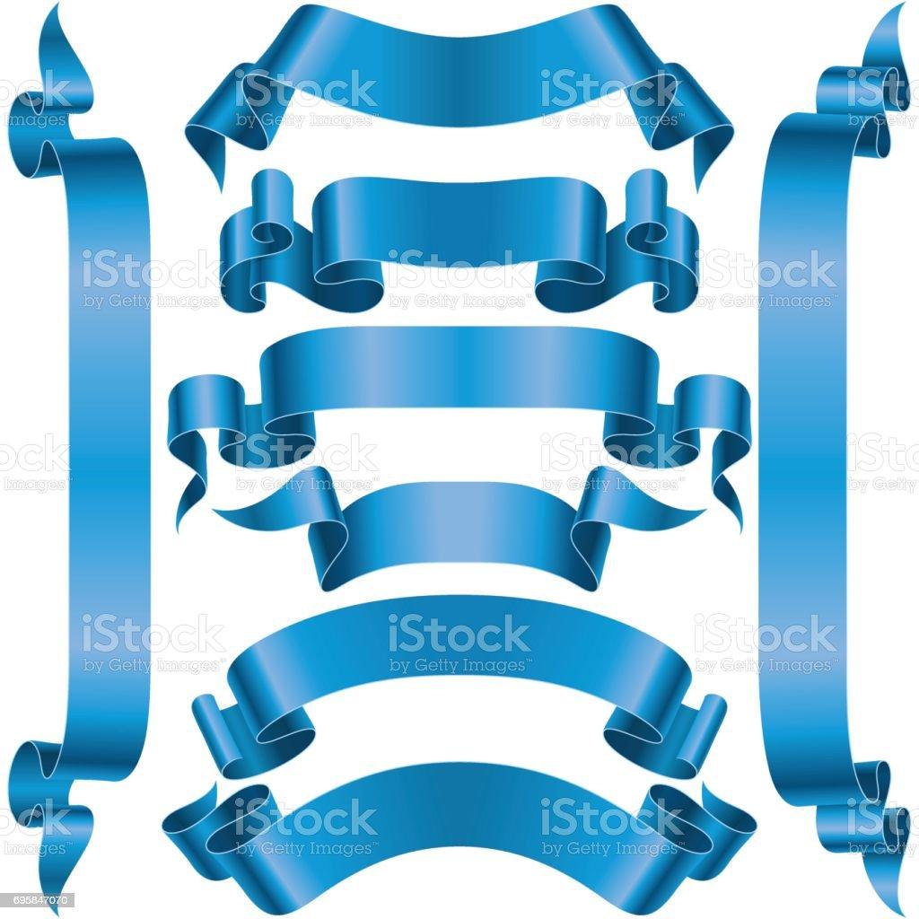 Vector set of Blue Banner Ribbon vector art illustration