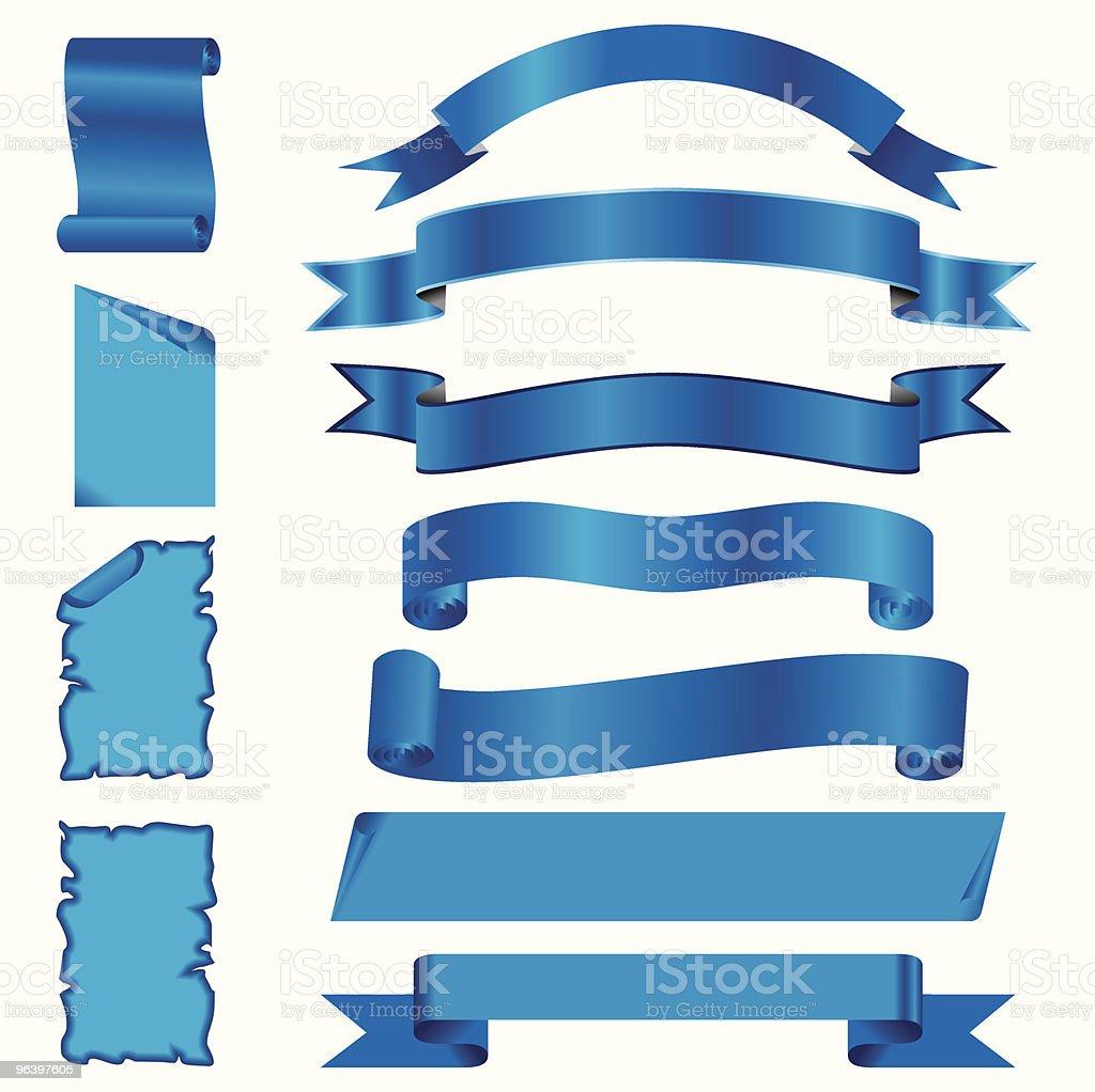 ベクトルセットのブルー圧断処理のリボンとページ - ちょう結びのロイヤリティフリーベクトルアート