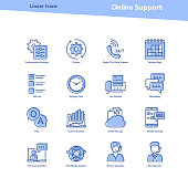 Vector set of blue color linear outline icons. Online support and technical information isolated pictographs. Startup, computer, office items, setting and user