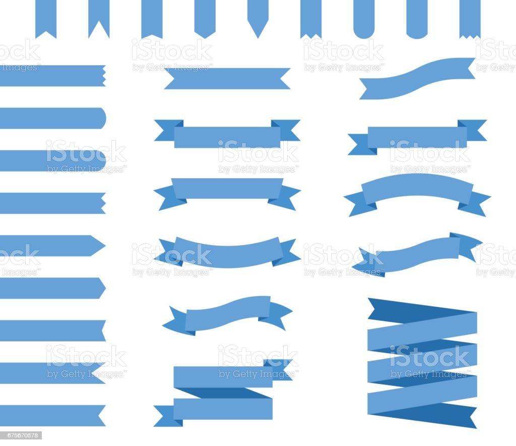 vector set of blue ribbons vector art illustration