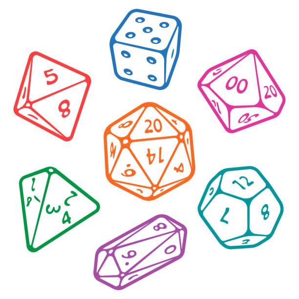 stockillustraties, clipart, cartoons en iconen met vector set dobbelstenen van het bordspel - veelvlakkig