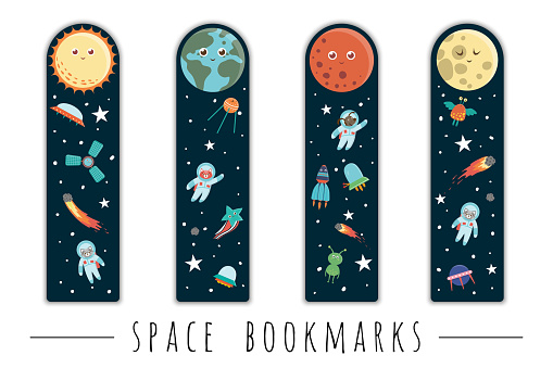 Vector set of bookmarks for children with outer space theme. Cute smiling planets, astronaut, spaceship, rocket, alien on dark blue background. Vertical layout card templates. Stationery for kids.