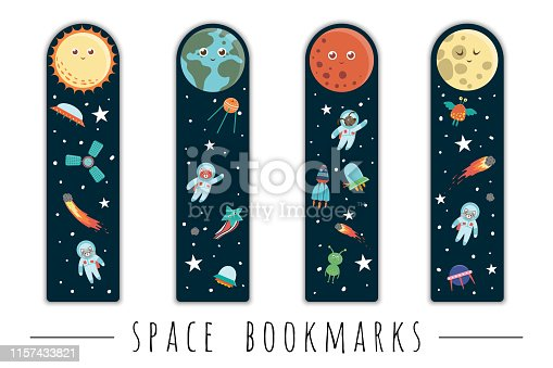 istock Vector set of bookmarks for children with outer space theme. Cute smiling planets, astronaut, spaceship, rocket, alien on dark blue background. Vertical layout card templates. Stationery for kids. 1157433821