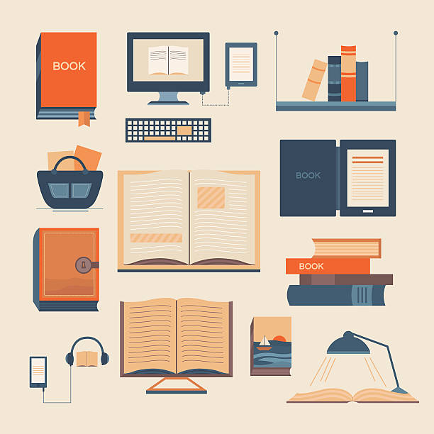 Vector set of books Vector set of books. Collection of vector elements with open book, ebook, bookshelf, audiobook, a stack of books. Background for banners, invitation cards, web pages, covers, advertising. book club stock illustrations