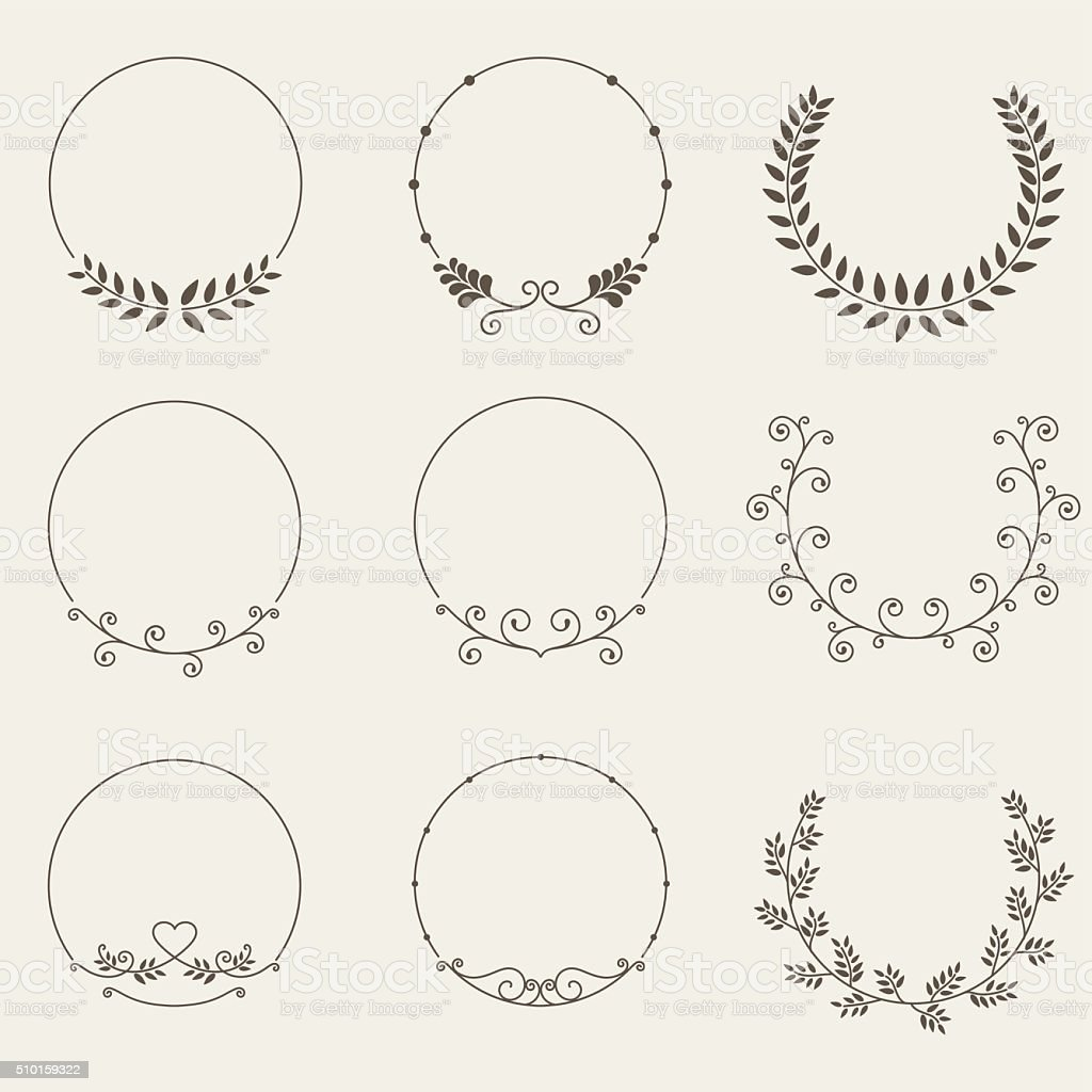 Vector set of border circle frame vector art illustration
