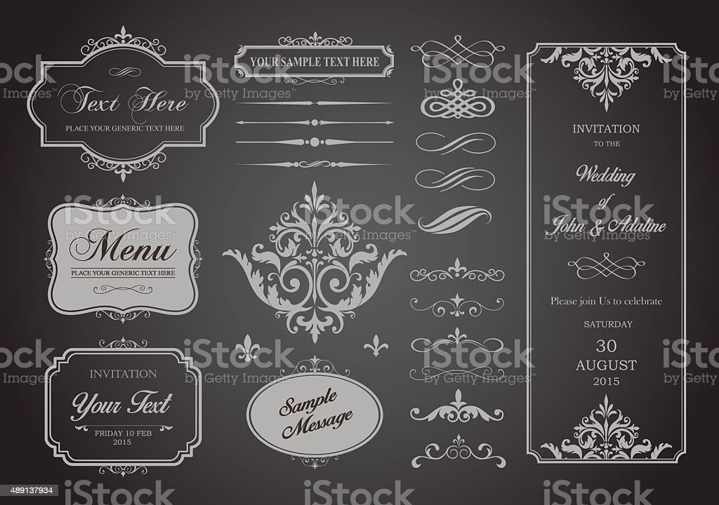Vector Set of Borders, Frames and Page Dividers vector art illustration