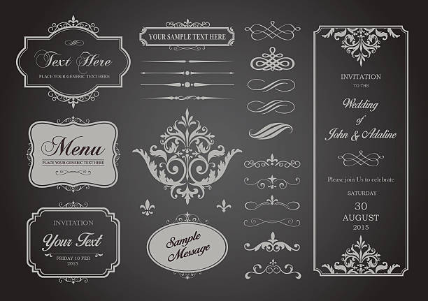 Vector Set of Borders, Frames and Page Dividers This image is a vector file representing a Vector Set of Borders, Frames and Page Dividers design illustration. No mesh or transparencies. EPS 10 vector file. formalwear stock illustrations