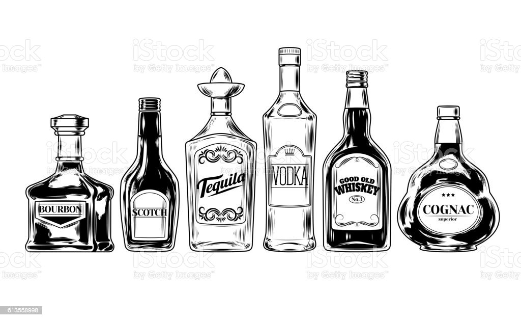Vector set of bottles for alcohol vector art illustration