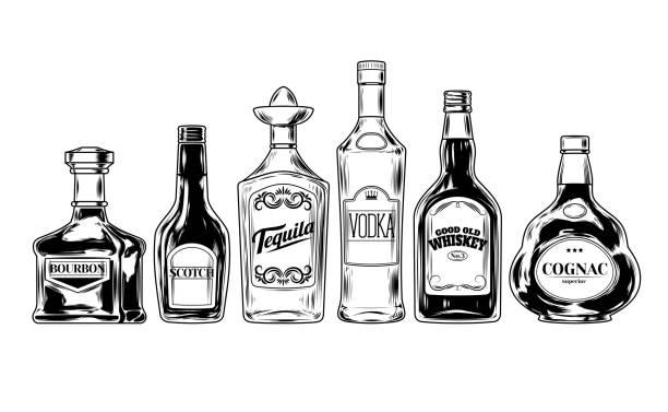 Vector set of bottles for alcohol vector art illustration