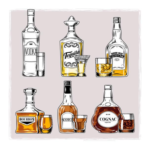 Royalty Free Cartoon Of A Whiskey Bottle Clip Art, Vector