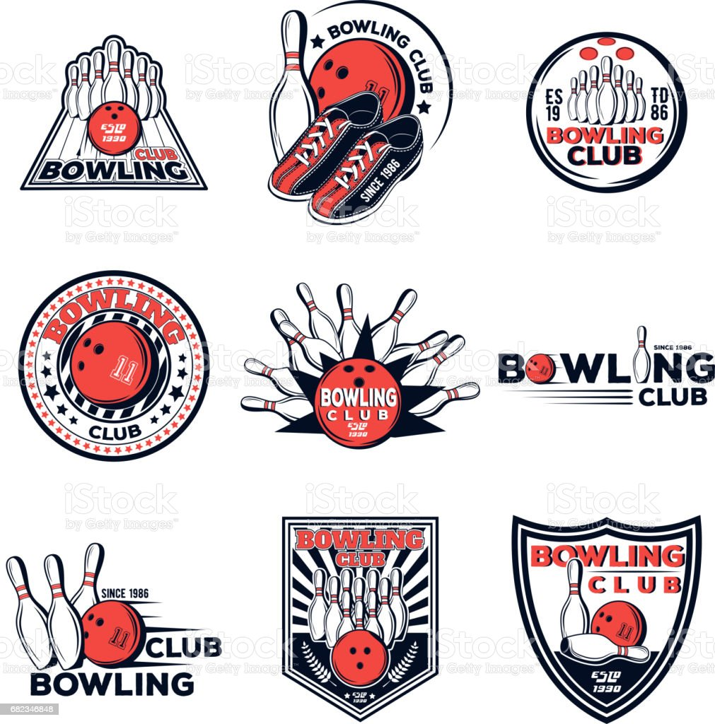 Vector set of bowling club icons for your design, print and web on a white background vector art illustration