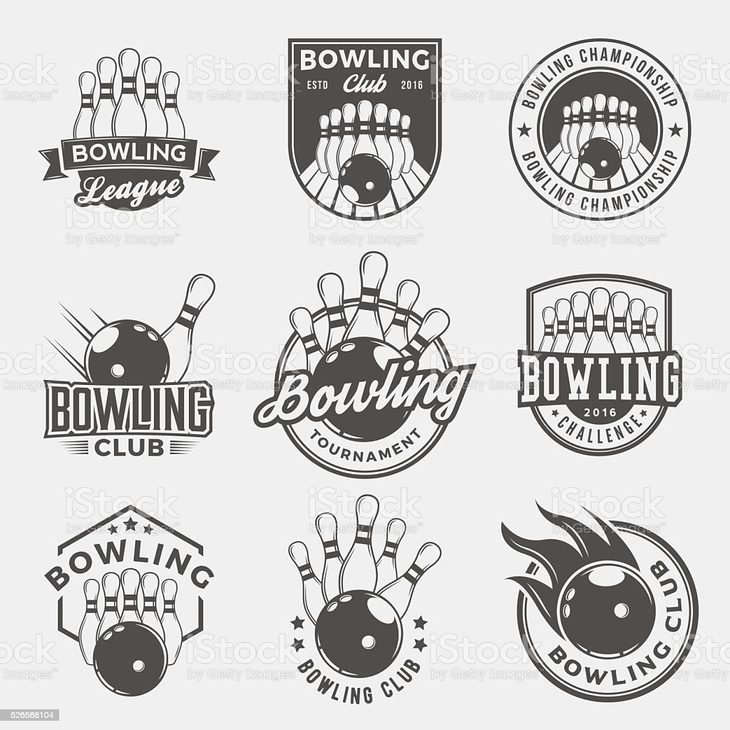 vector set of bowling logos, emblems and design elements royalty-free vector set of bowling logos emblems and design elements stock illustration - download image now