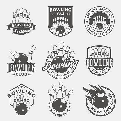 vector set of bowling logos, emblems and design elements