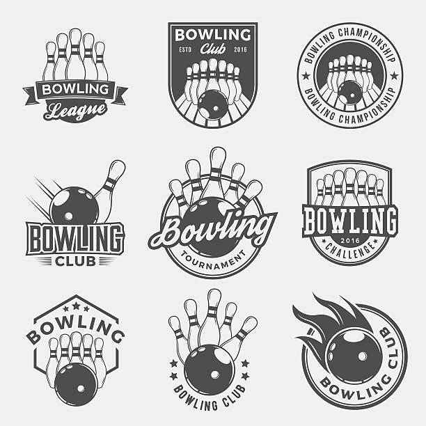 vector set of bowling logos, emblems and design elements vector art illustration