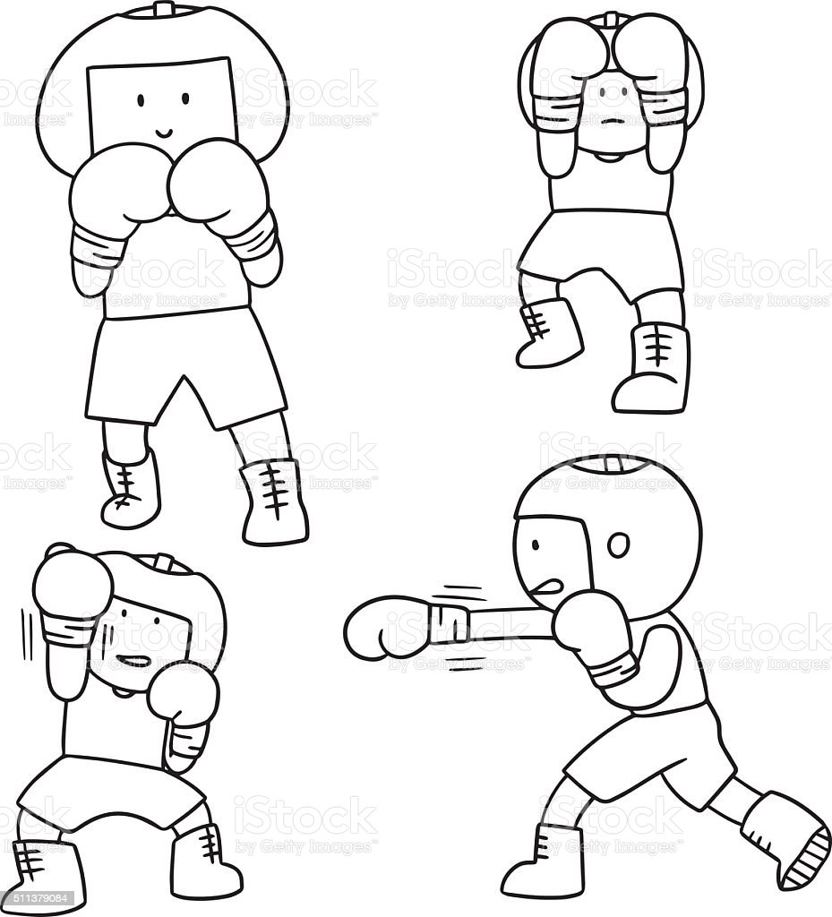vector set of boxer vector art illustration