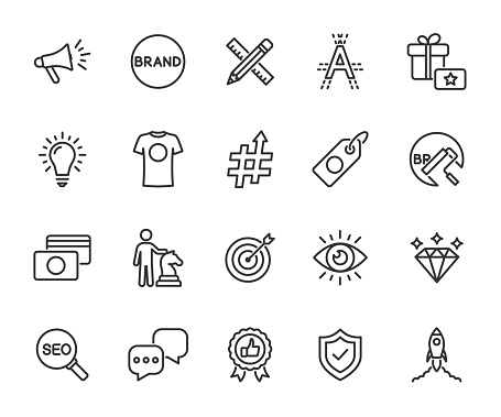 Vector set of brand line icons. Contains icons corporate identity, name, mission, vision, advertising, values, strategy, rebranding and more. Pixel perfect.
