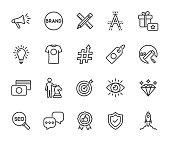istock Vector set of brand line icons. Contains icons corporate identity, name, mission, vision, advertising, values, strategy, rebranding and more. Pixel perfect. 1322155556