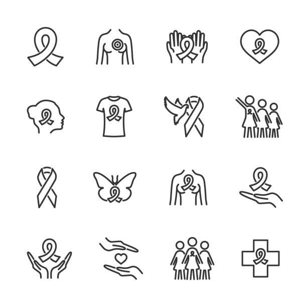 ilustraciones, imágenes clip art, dibujos animados e iconos de stock de conjunto vectorial de iconos de línea de cáncer de mama. - oncología