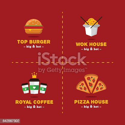 Vector Set Of Bright Food Delivery And Restaurant Symbols Stock