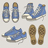 Drawings of blue sneakers with white trim and brown soles
