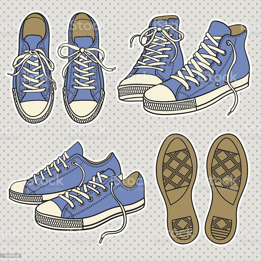 Drawings of blue sneakers with white trim and brown soles vector art illustration