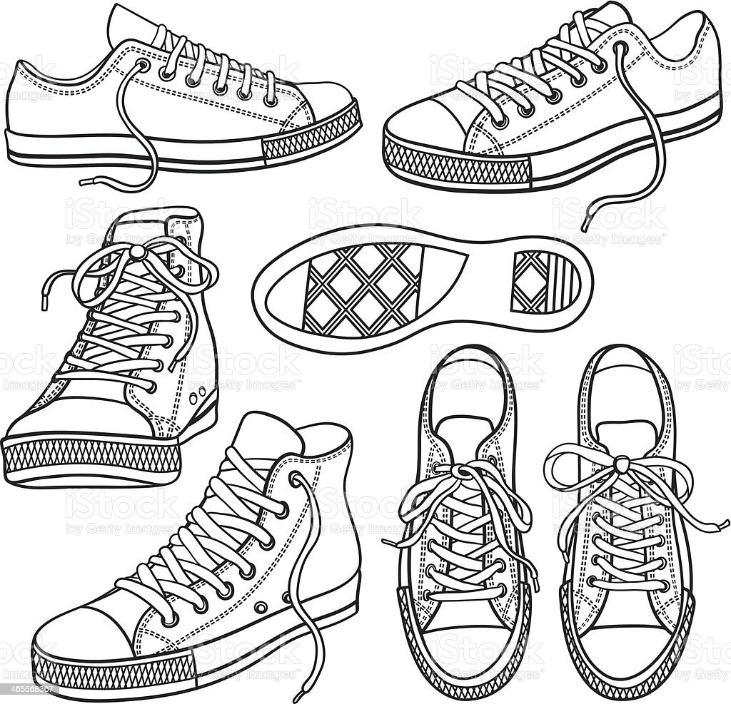 set with sneakers isolated on white vector art illustration