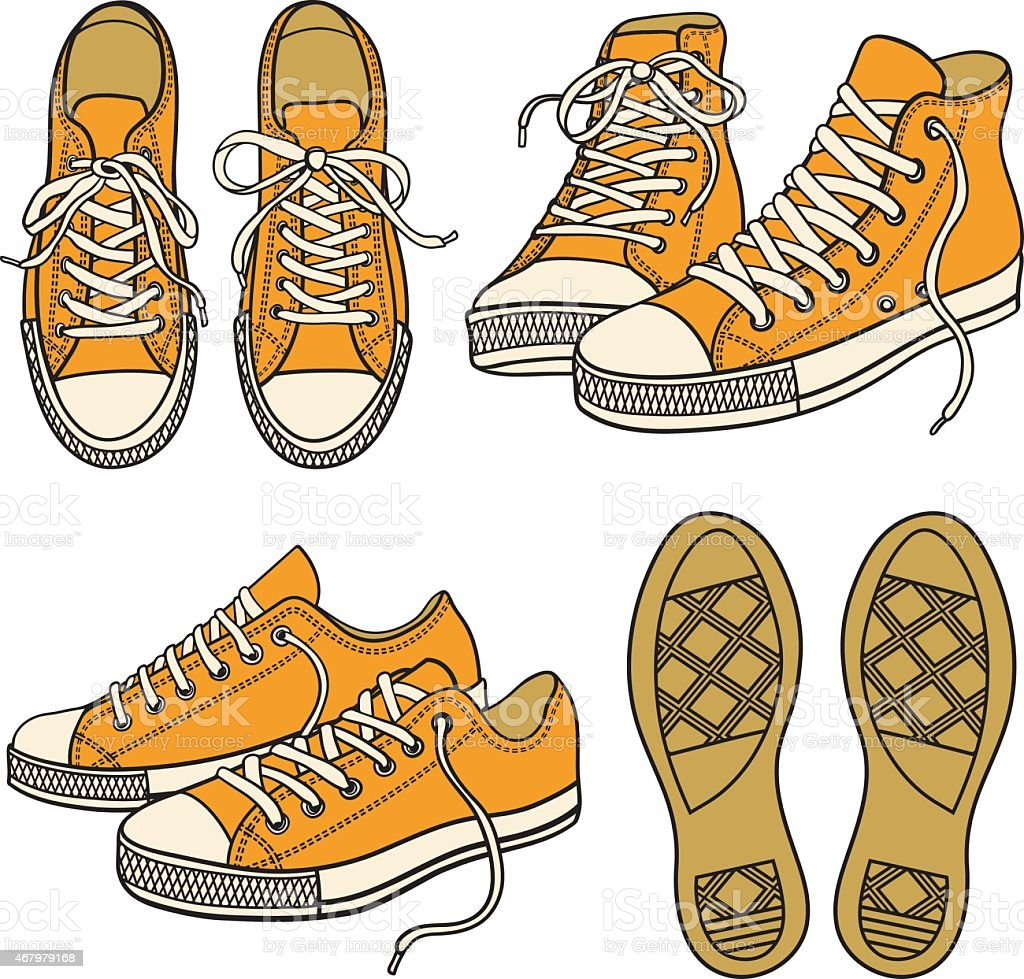 set with sneakers isolated vector art illustration