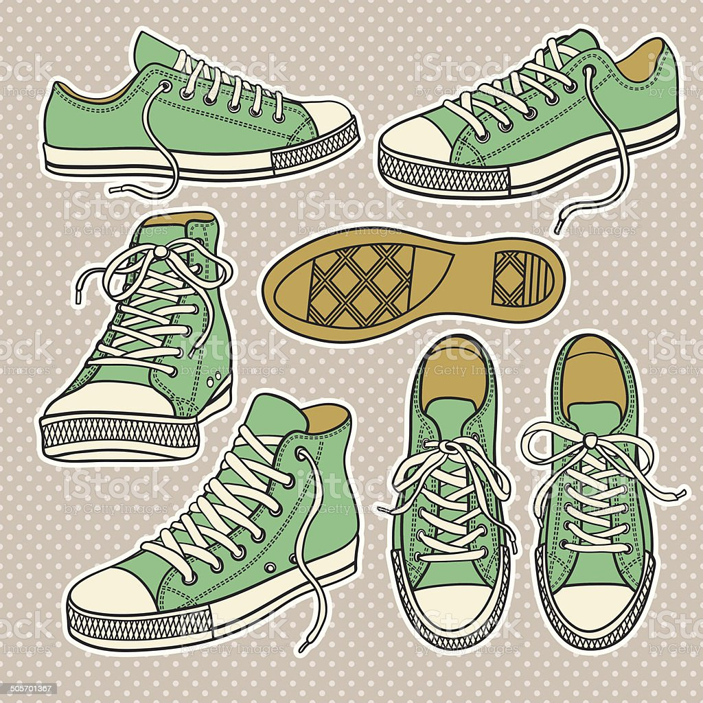 set with isolated sneakers vector art illustration