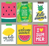 Vector set of bright summer cards. Beautiful posters.