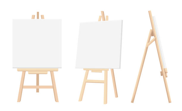 Vector Set of Brown Sienna Wooden Easels with Mock Up Empty Blank Canvases Isolated on Background Paint Desk and White Paper Isolated On Background. Vector illustration Web site page and mobile app vector art illustration