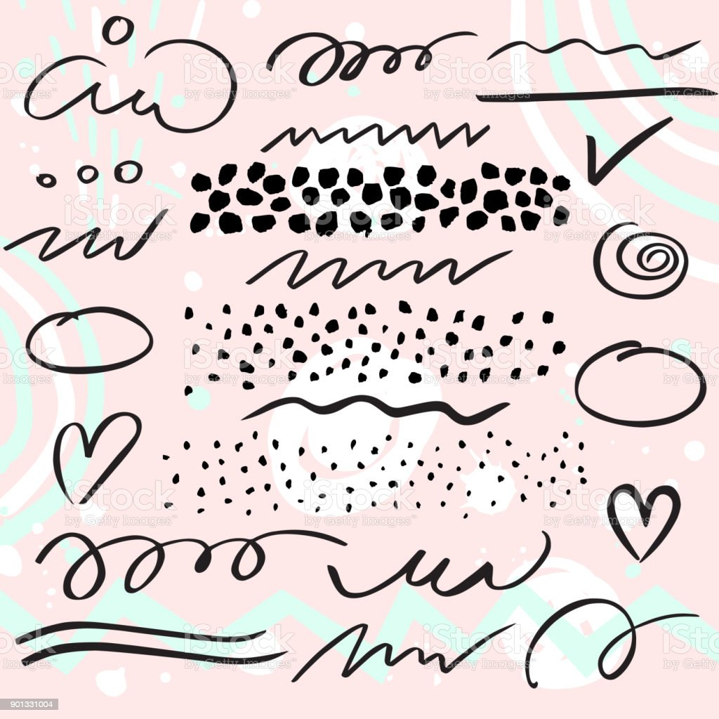 Vector set of brush pen strokes, lines and  dots. vector art illustration