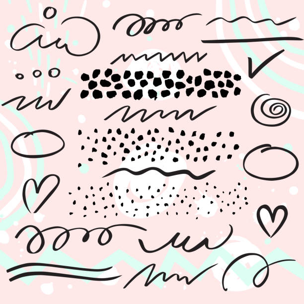 vector set of brush pen strokes, lines and  dots. - design element stock illustrations