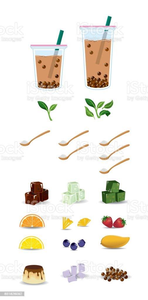 Vector set of bubble tea with ingredient for bubble tea menu vector art illustration